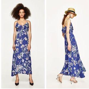 Zara lightweight blue floral sleeveless dress med